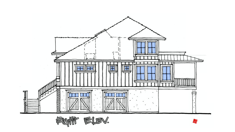 Lowcountry Custom Home Right Exterior Elevations Concept-St. Helena Island, South Carolina