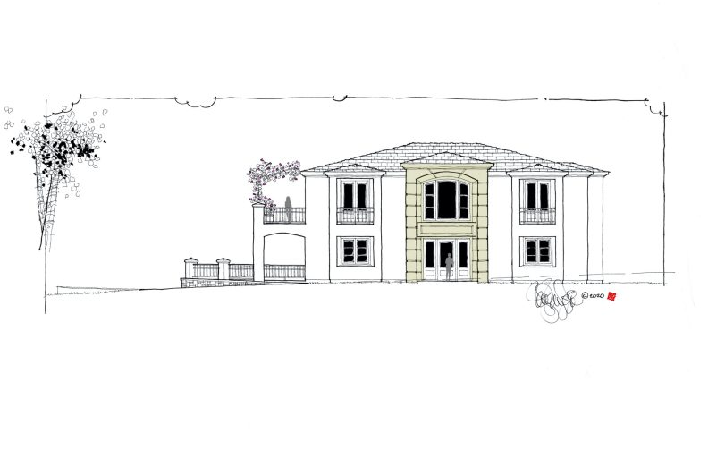 Proposed hillside custom home front exterior elevation, a Mediterranean home style.