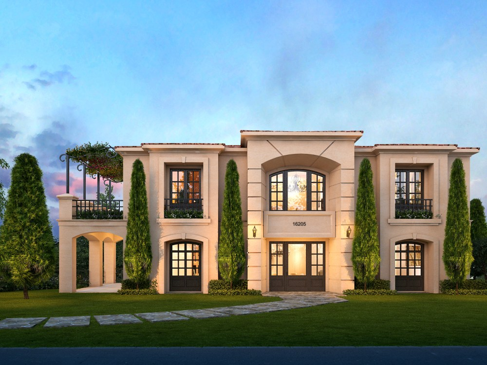 The front view of the Mediterranean home style of the new hillside custom home. Designed by Myles Nelson McKenzie Design.