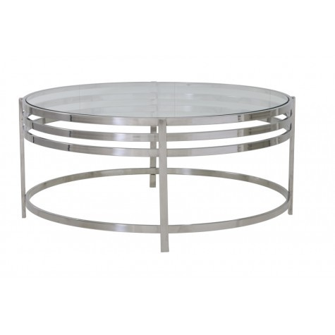 chrome and glass large round coffee table