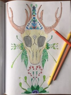 colored pages from oh deer! coloring book