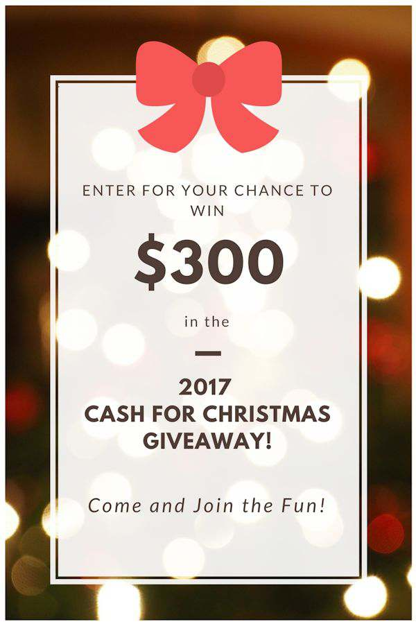 Christmas Cash Giveaway! Enter for your chance to win $300 in gift cards from Amazon, Target, Walmart, and Kohls. There will be 5 winners in all!