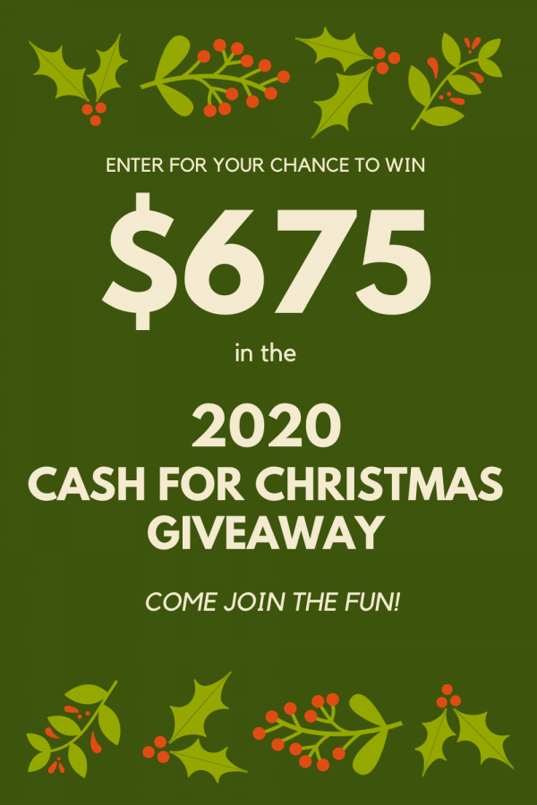 It's time for a Christmas giveaway! Are you getting geared up for the shopping season? Do you need extra cash for Christmas?? Don't we all!
