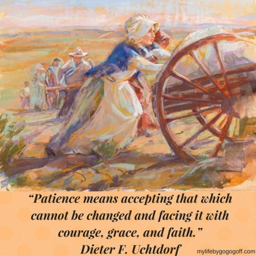 """Patience means accepting that which cannot be changed and facing it with courage, grace, and faith."" ~Dieter F. Uchtdorf"