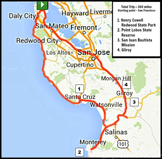 Total Trip = 300 miles Starting point - San Francisco