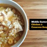 This Middle Eastern chicken & couscous soup is full of flavor using spices, couscous, chicken and caramelized onions. A hearty meal in a bowl.