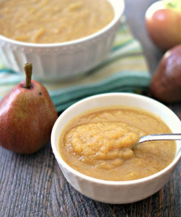 This slow cooker apple & pear sauce is easy peasy with adelicious combination of pears and apples which are so fresh this season. Sweet and wholesome and your whole family will love it!
