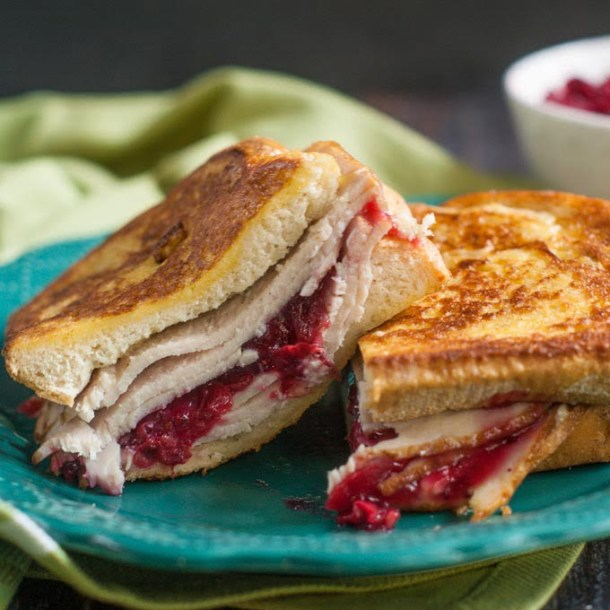 close up of a turkey sandwich using leftover turkey and cranberry sauce