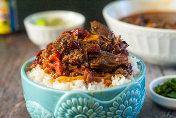 This spicy barbacoa beef roast was a snap in the Instant Pot. Full of spicy goodness, it's perfect over rice for a delicious beef dinner. And you can make it in a slow cooker too!