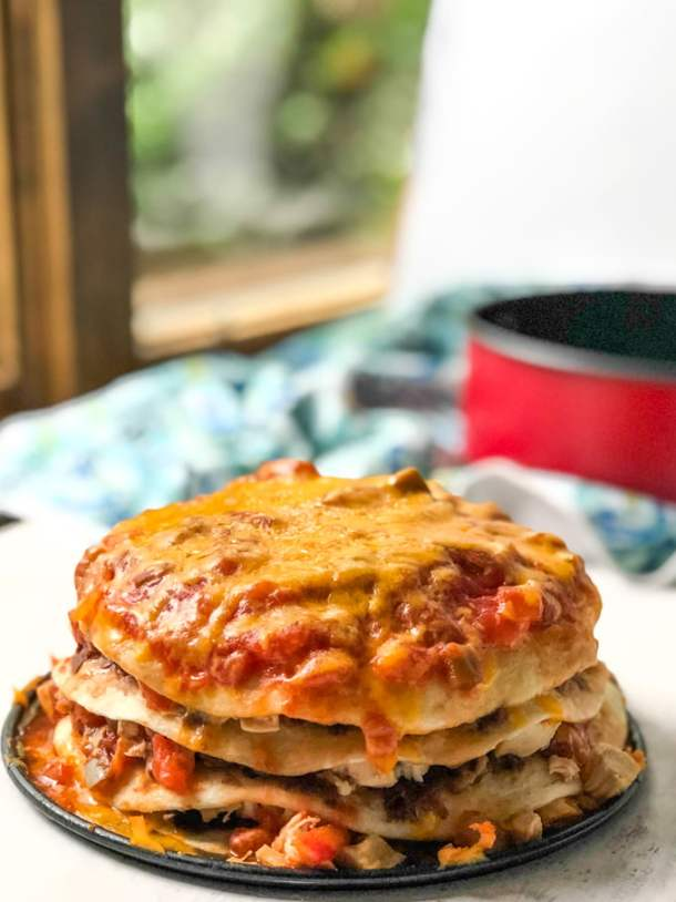 cooked chicken burrito lasagna by the window
