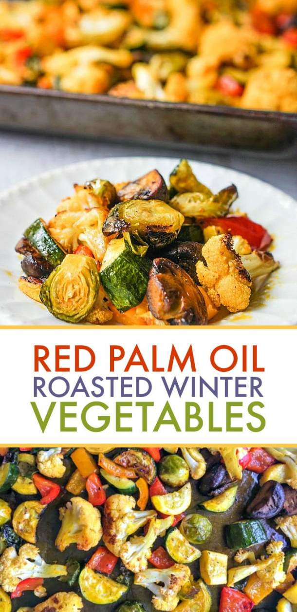 These red palm oil roasted winter vegetables are a healthy and tasty side dish you can easy whip up any day of the week. The red palm oil is a superfood and coupled with seasonal vegetables makes for a healthy dish.