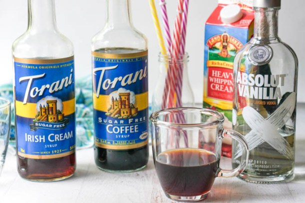 ingredients to make a mudslide cocktail: Torani syrups, coffee, vodka and cream