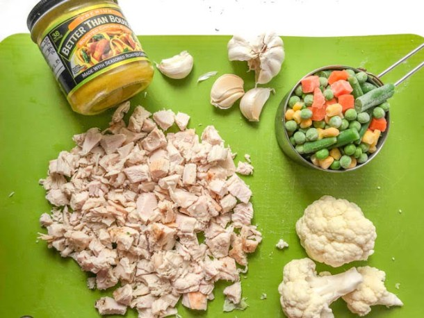 low calorie soup ingredients: Better than Bouillon, garlic, chopped turkey breast, cauliflower and frozen vegetables