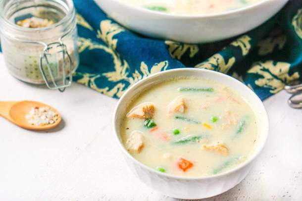 white bowl with low carb creamy turkey soup