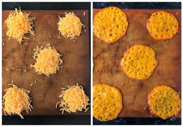 collage of how to make cheese chips