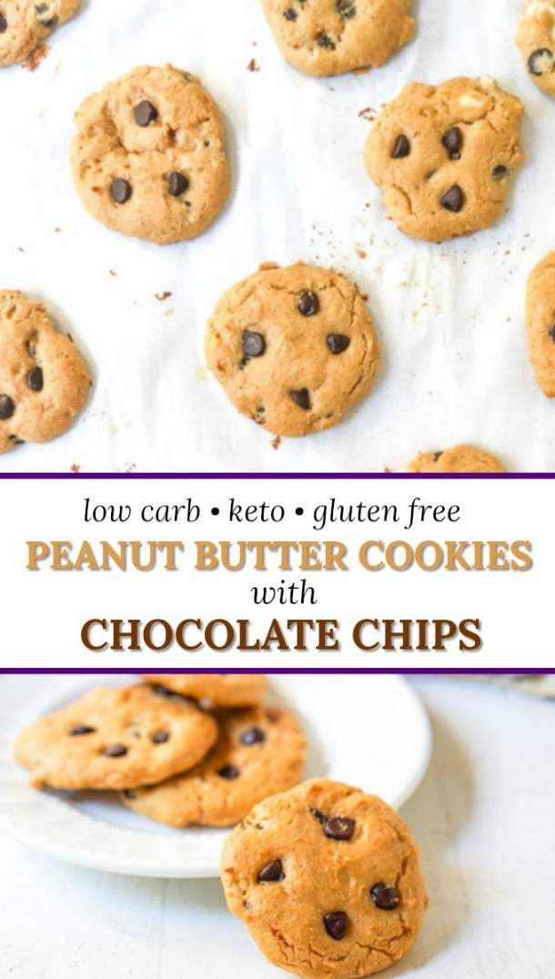 cookie sheet with low carb peanut butter cookies with text overlay