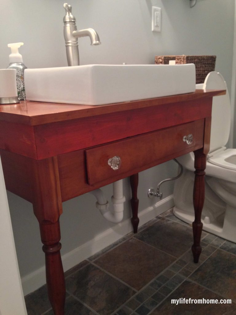 Sink made from antique side table
