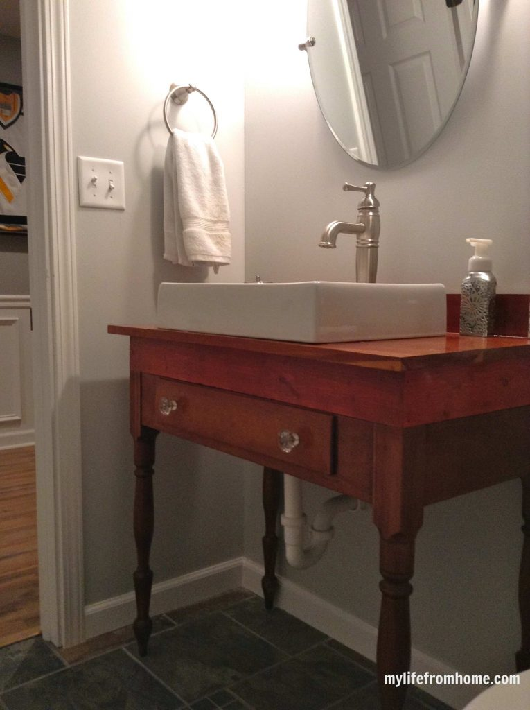 Finished vanity Antique Table with Sink by www.mylifefromhome.com