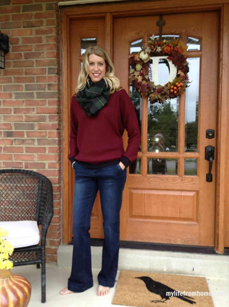 Wine waffle knit sweater, trouser jeans and infinity plaid scarf