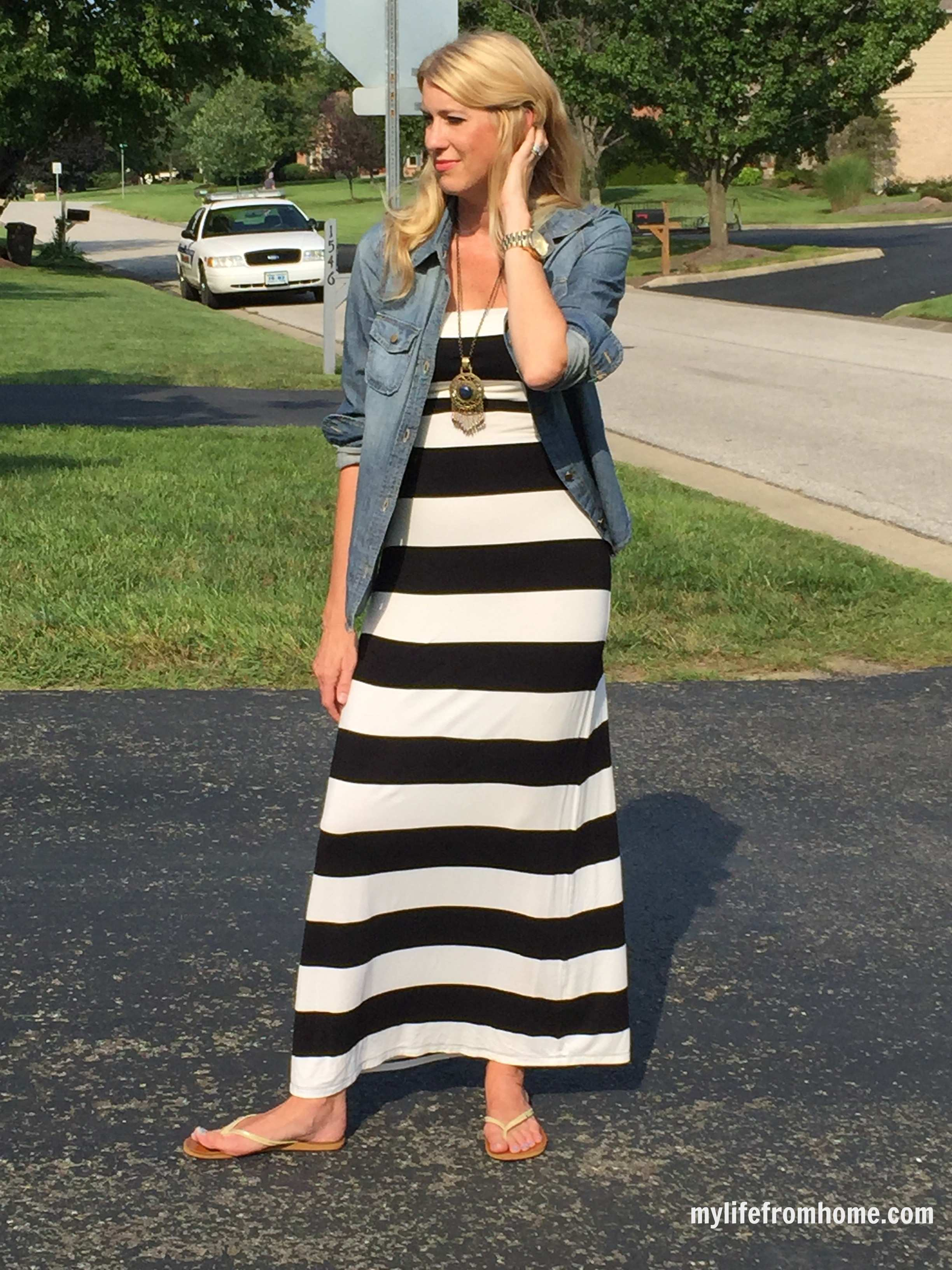 Denim Shirt over a Maxi Dress by www.mylifefromhome.com