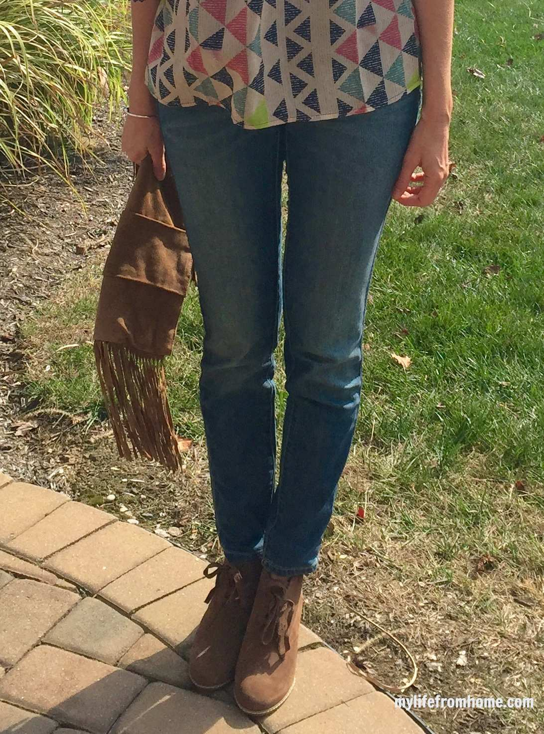 Fringe Purse and Wedge Booties by www.mylifefromhome.com