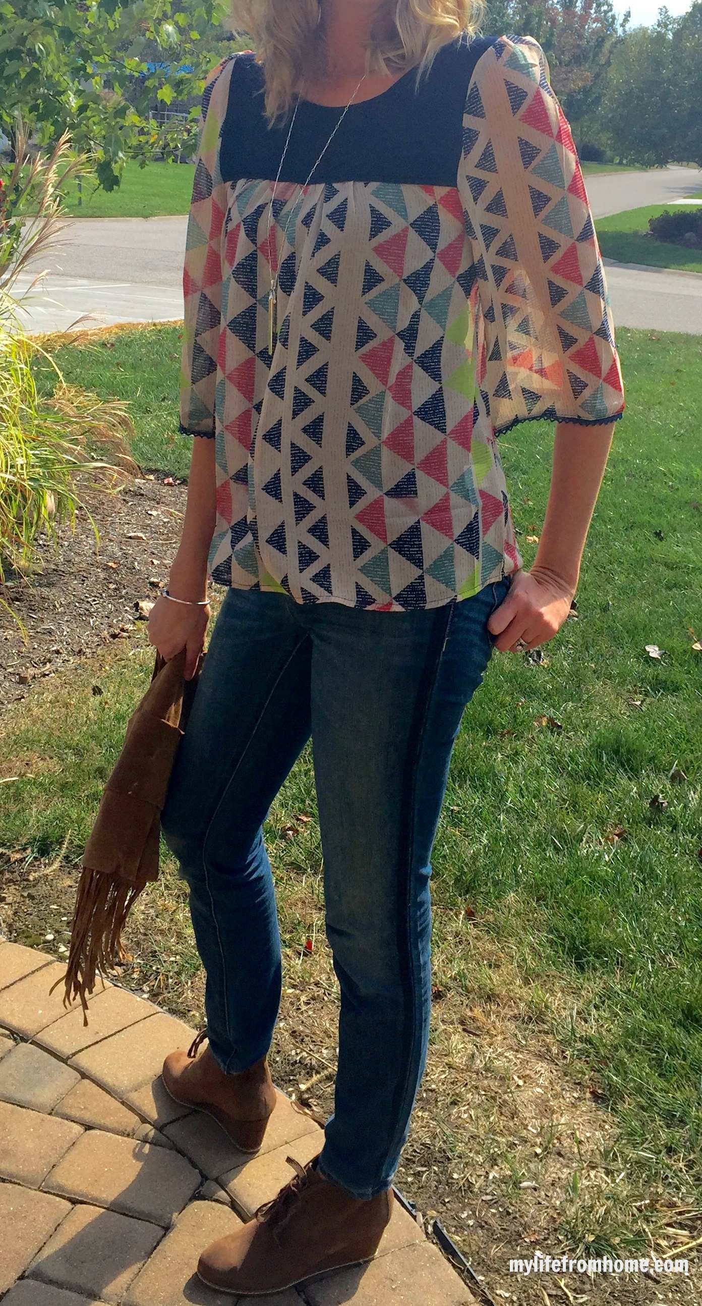 Casual Outfit Featuring Geometric Print and fringe by www.mylifefromhome.com