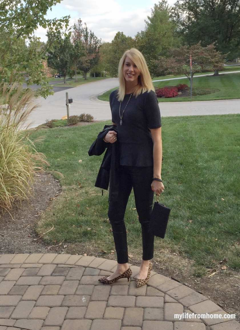 Coated Denim, Peplum Top, Leopard Heels for Date Night by www.whitecottagehomeandliving.com