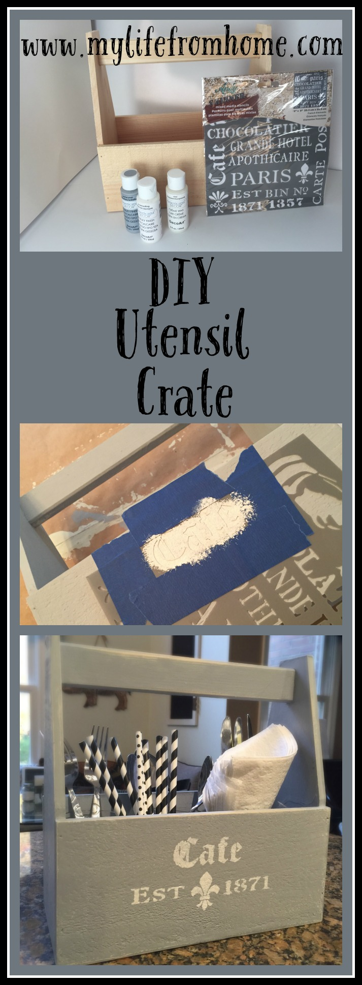 DIY Utensil Crate by www.mylifefromhome.com