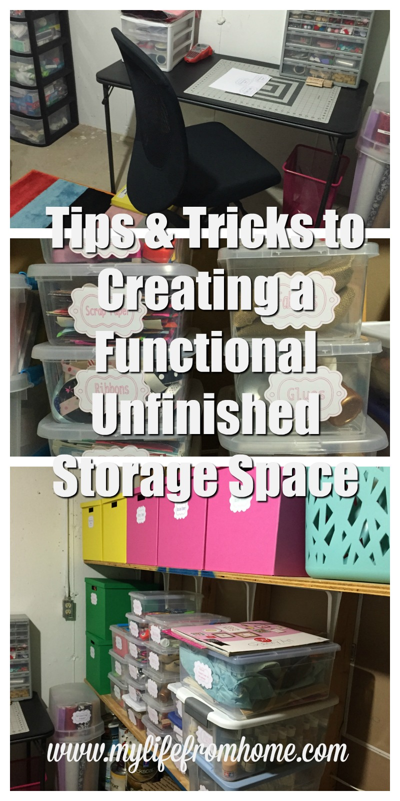 Tips & Tricks to Creating a Functional Unfinished Storage Space by www.mylifefromhome.com