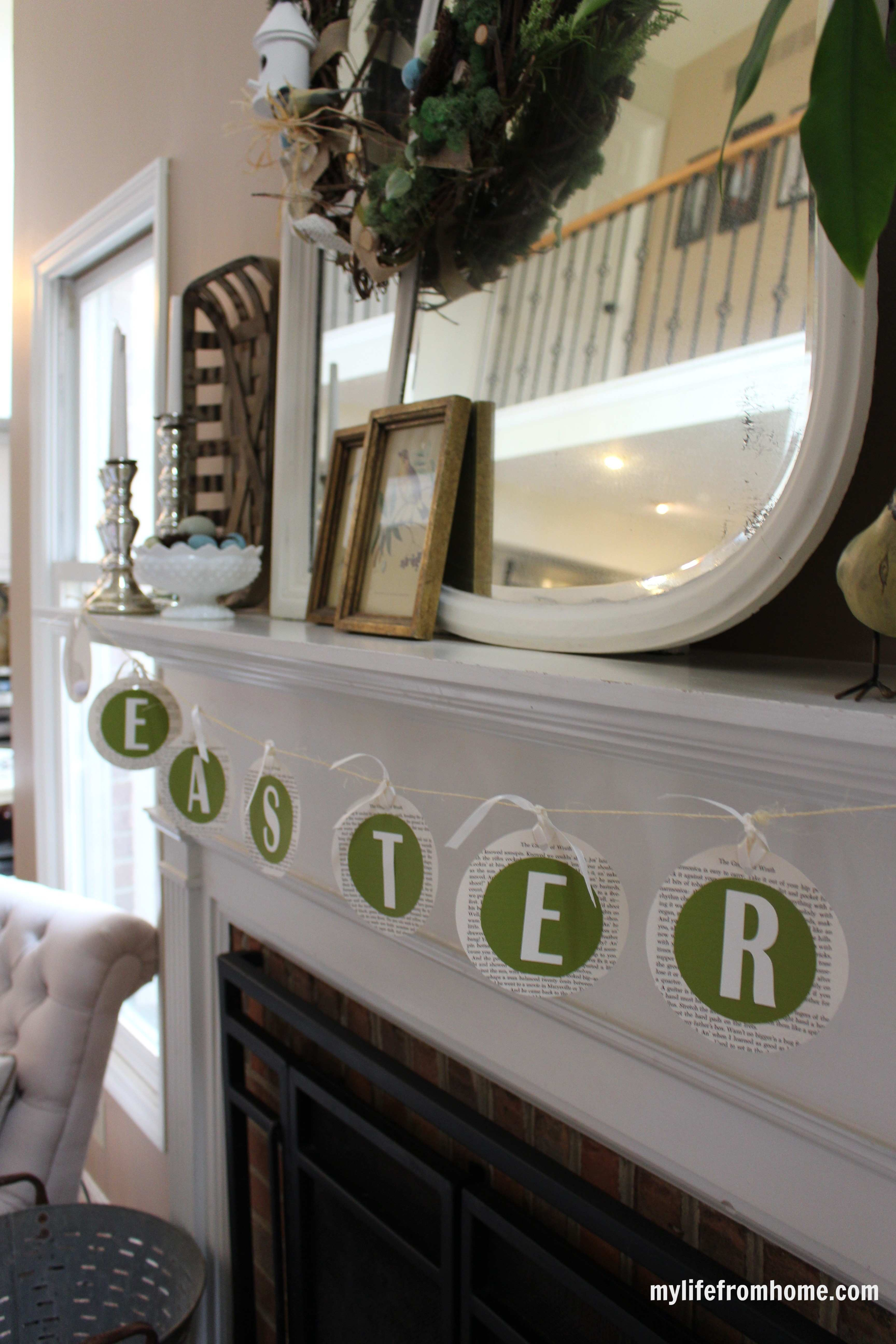 Easter Mantel by www.mylifefromhome.com