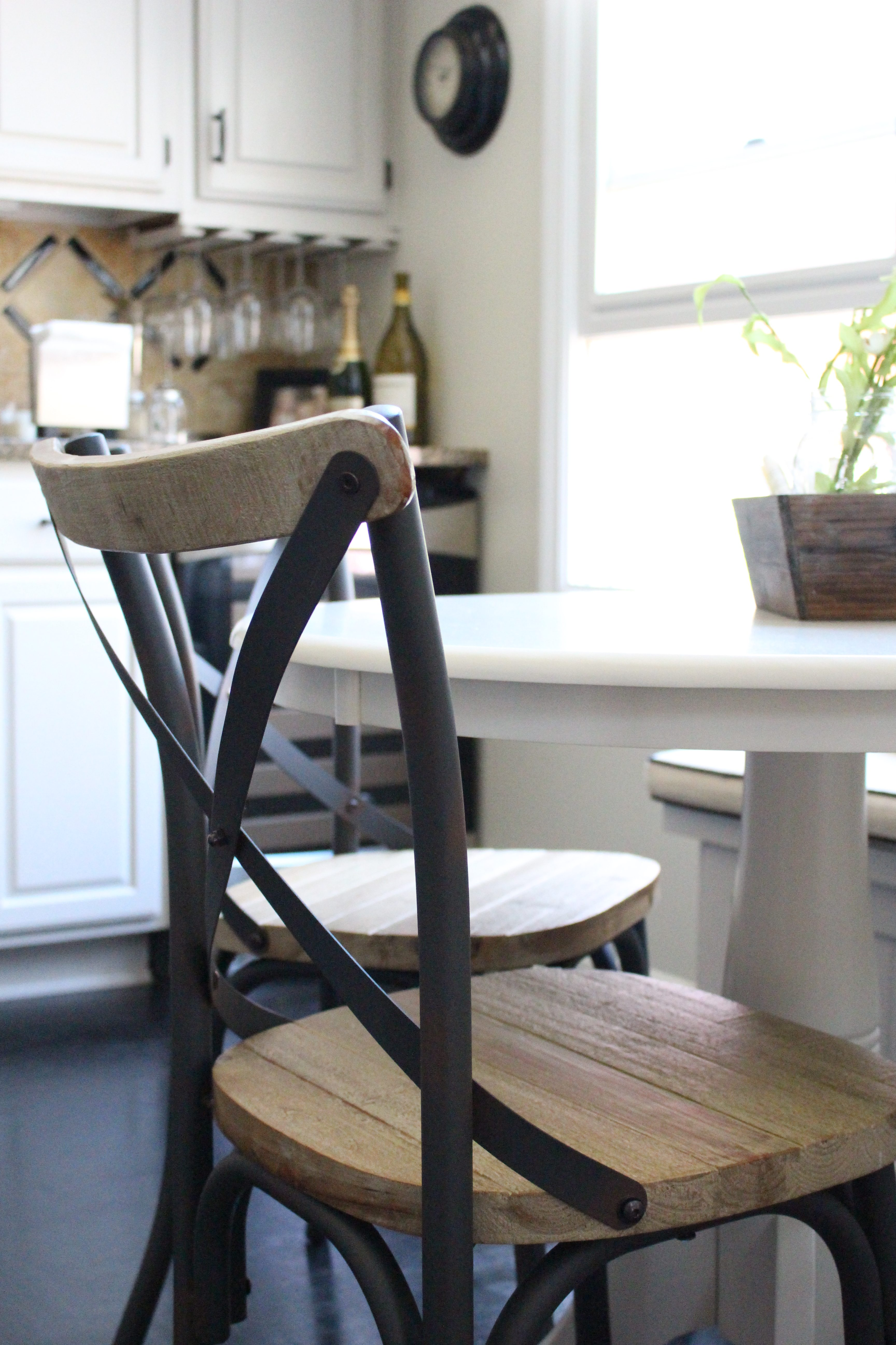 Cross Back Farmhouse Inspired Chairs by www.whitecottagehomeandliving.com