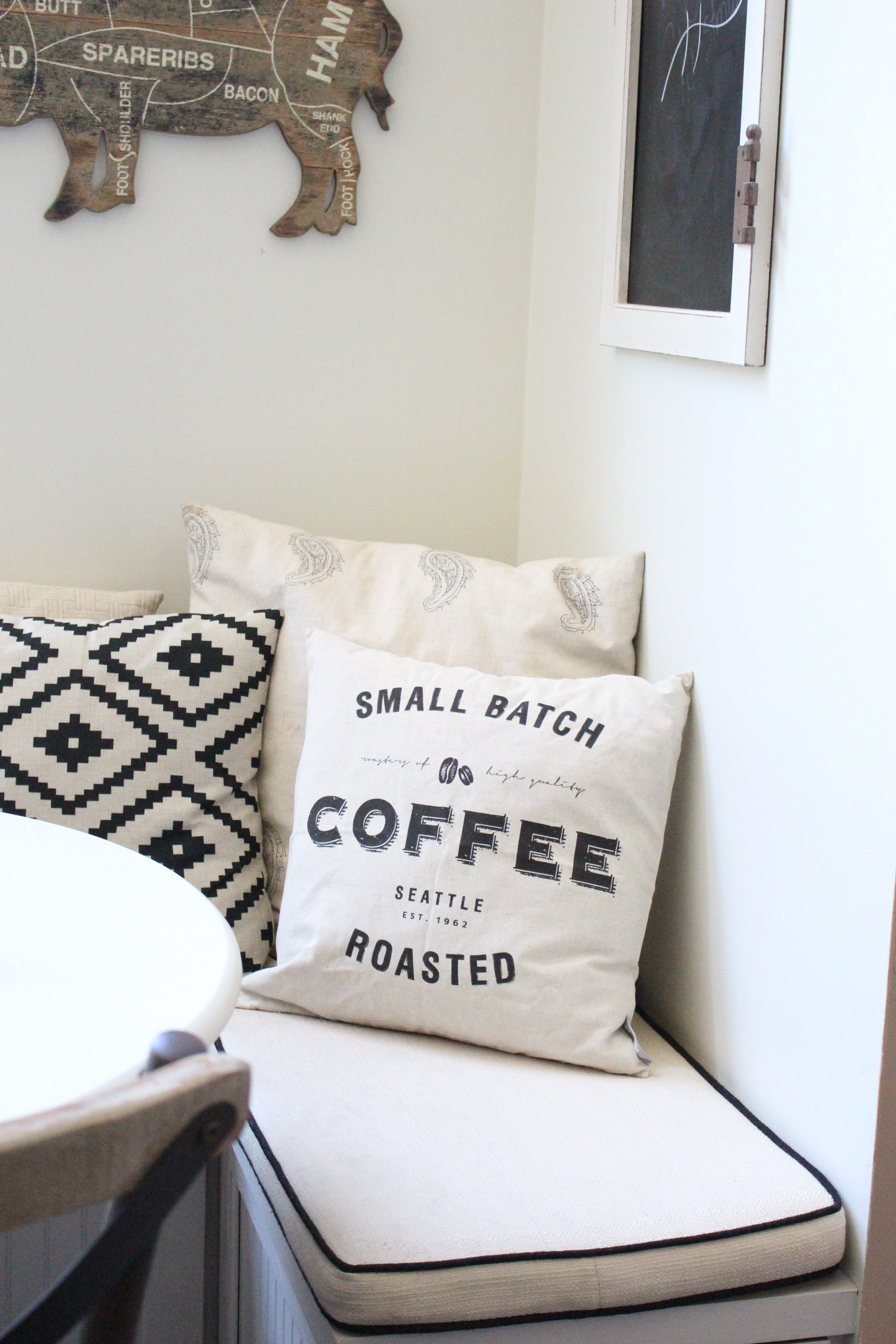 Coffee Pillow Cover in Built In Bench Nook by www.whitecottagehomeandliving.com
