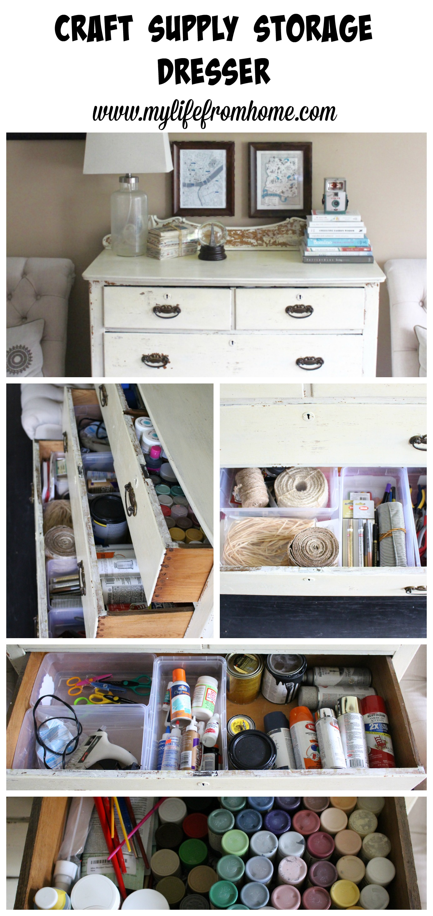 Craft Supply Storage Dresser by www.mylifefromhome.com