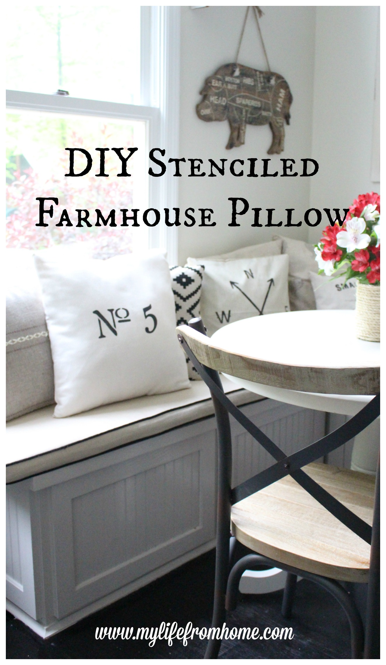 DIY Stenciled Farmhouse Pillow My Life From Home www.mylifefromhome.com