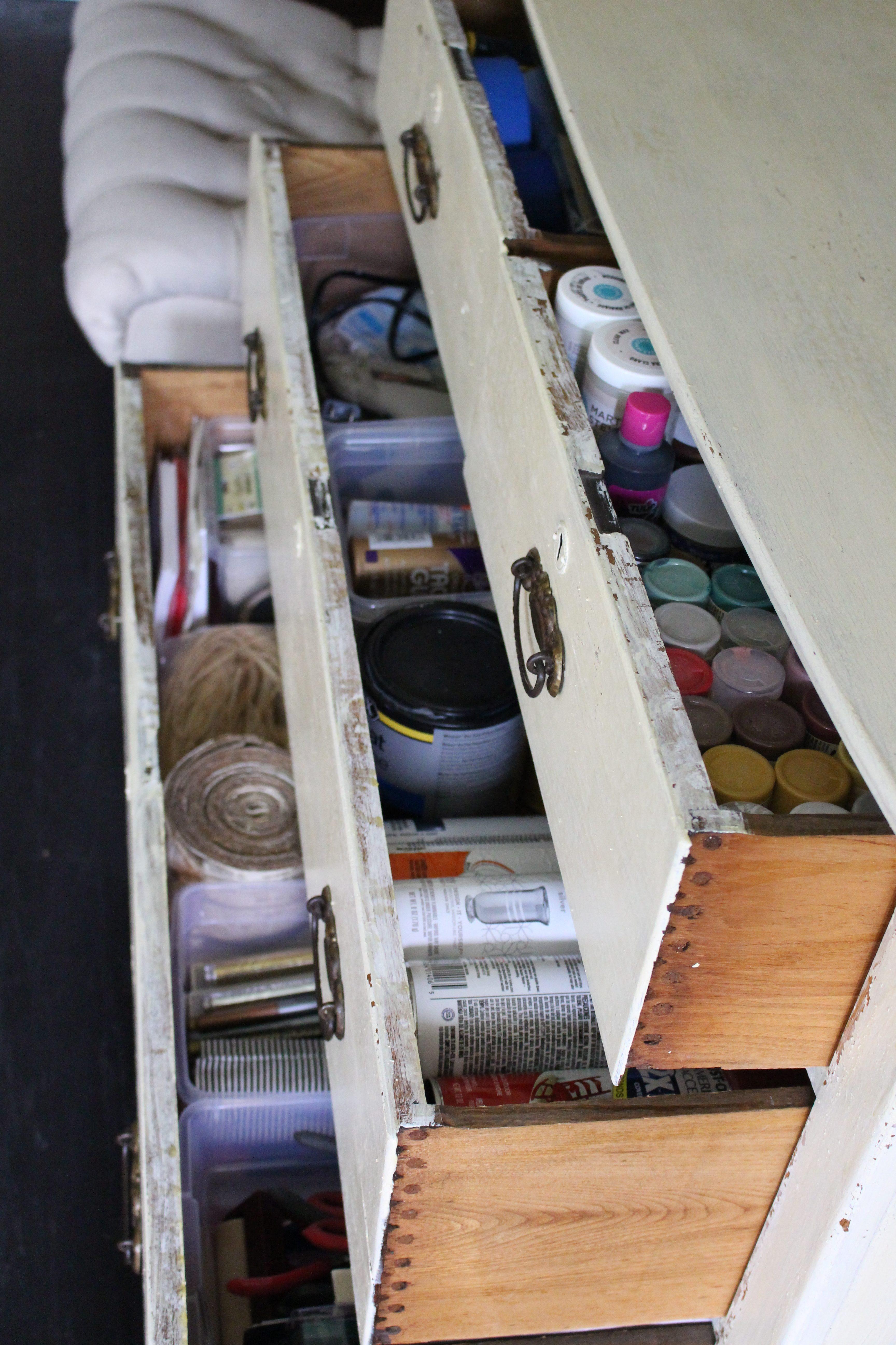 Craft Supply Storage Dresser by www.whitecottagehomeandliving.com