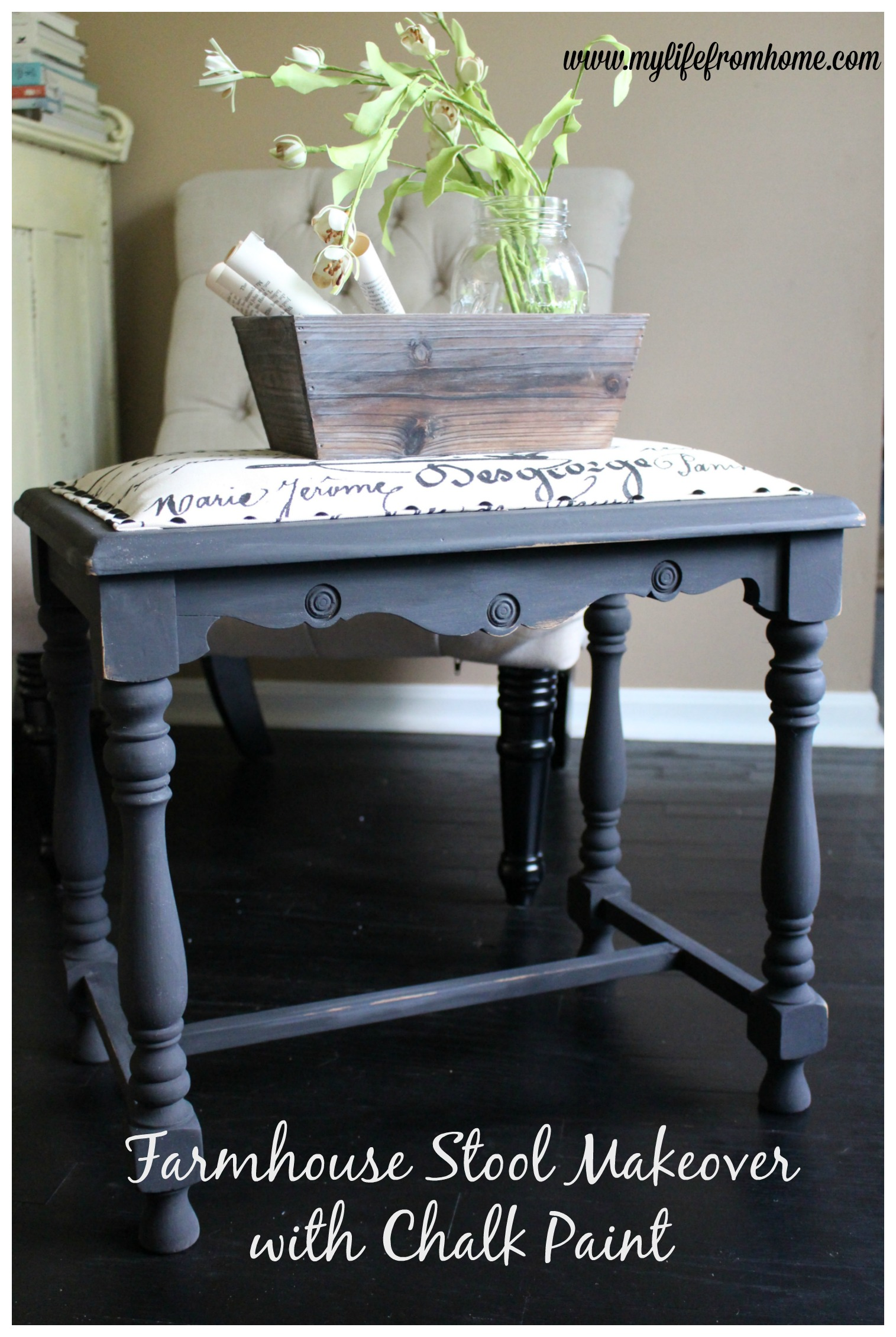 Farmhouse Stool Makeover with Chalk Paint by www.mylifefromhome.com