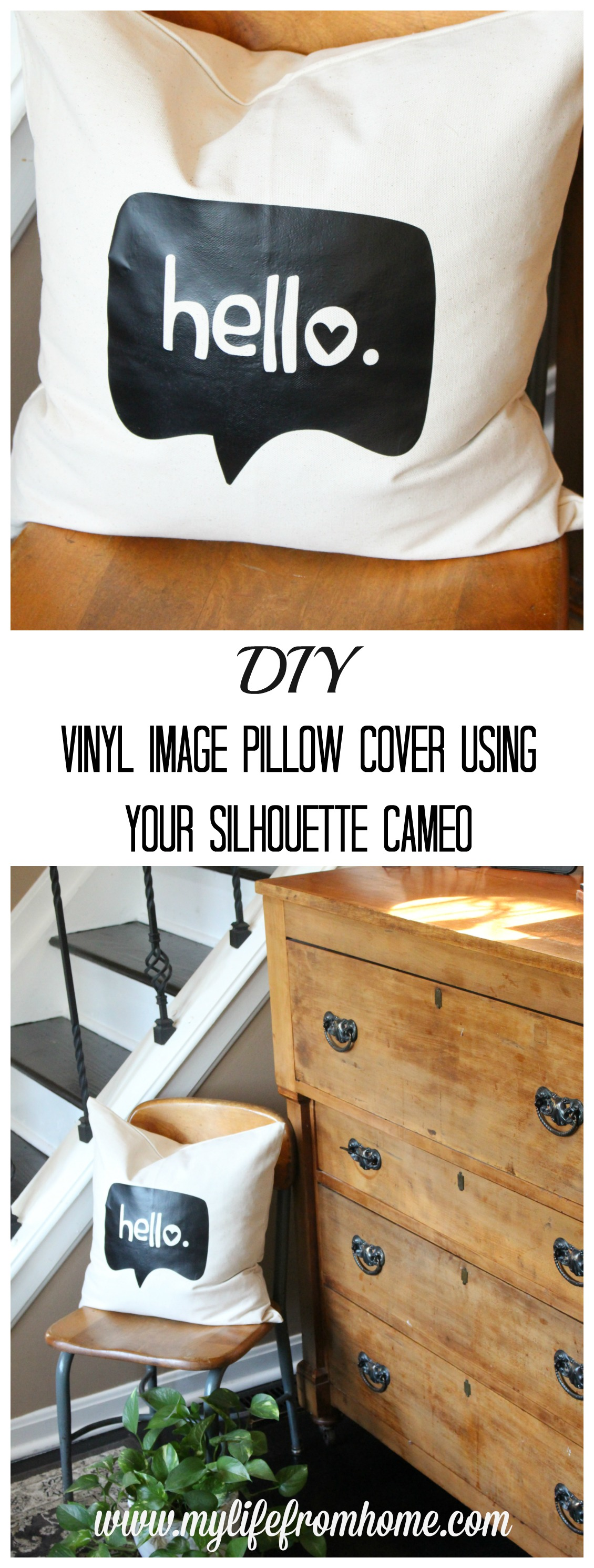 DIY Vinyl Image Pillow Cover Using Your Silhouette Cameo Silhouette Cameo Projects Pillow Cover Projects decor using vinyl Pillow Cover Projects