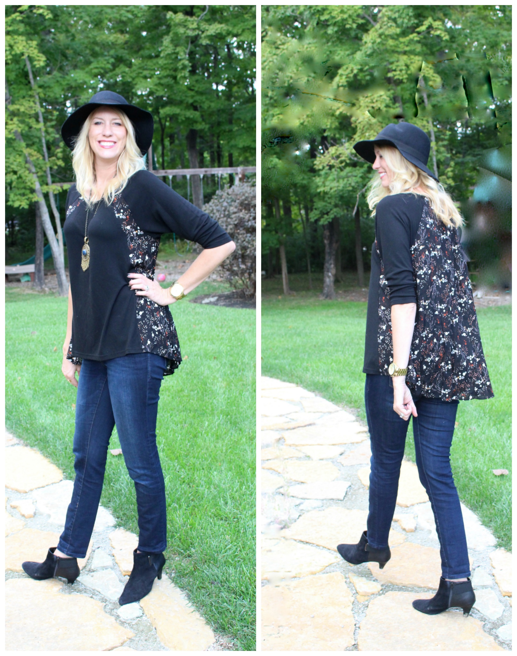 glamour-farms-black-top-fashion- women's fashion- fall wardrobe- clothing- floral top