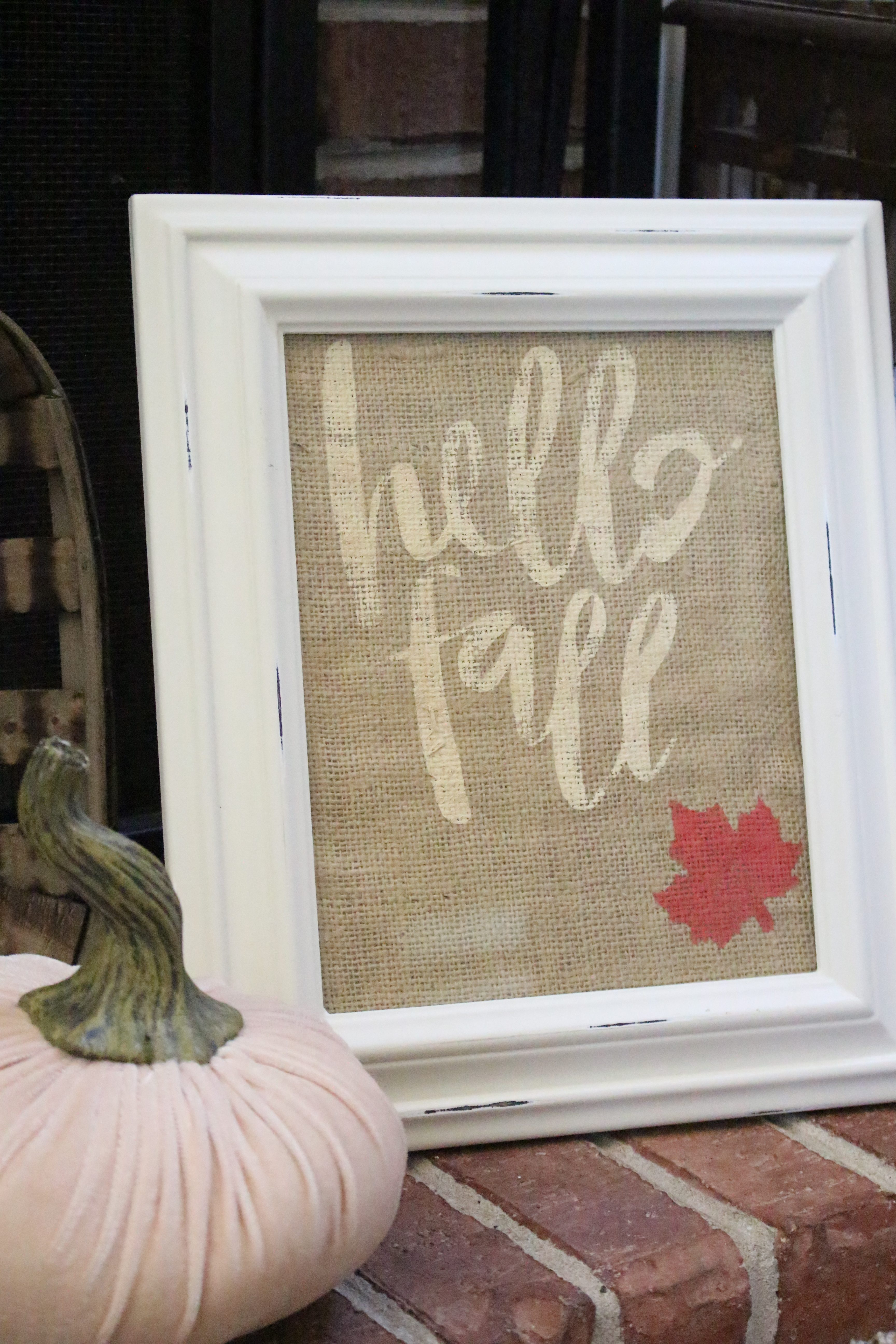 Hello Fall Stencil on Burlap Art- Silhouette Cameo projects- stencil project- crafts- DIY- paint- fall decor- DIY art project- fall craft