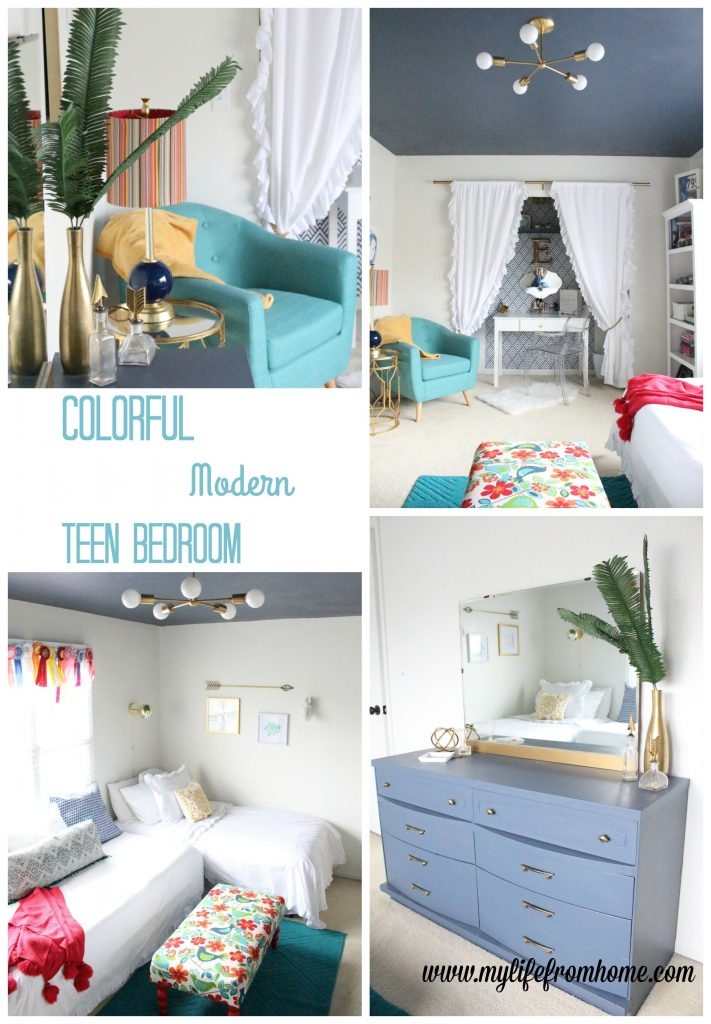 A Colorful Modern Teen Hangout Bedroom- kids bedrooms- gold accents- modern decor- home design- room design- redoing a teen bedroom- colorful bedroom- tween space- DIY- One Room Challenge