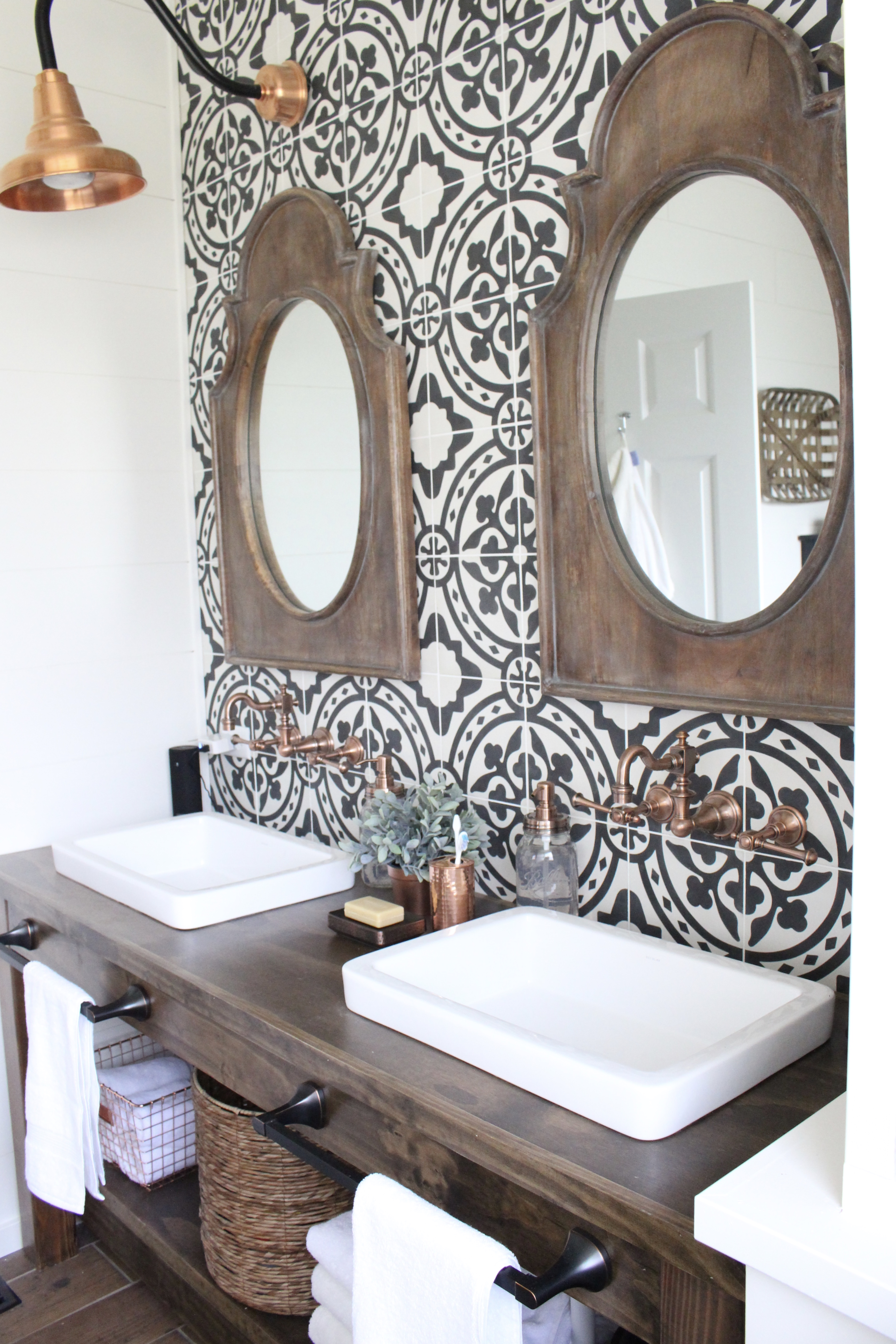 Master Bathroom Renovation- How to achieve a farmhouse style bathroom- farmhouse style- bathroom- remodeled bathroom- farmhouse bathroom- cement tile- copper accents- farmhouse style- bathroom update- bathroom reveal- bath