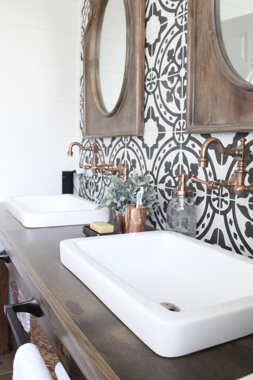 Modern Farmhouse Bathroom Remodel Reveal | White Cottage ... on Farmhouse Bathroom Tile  id=38062
