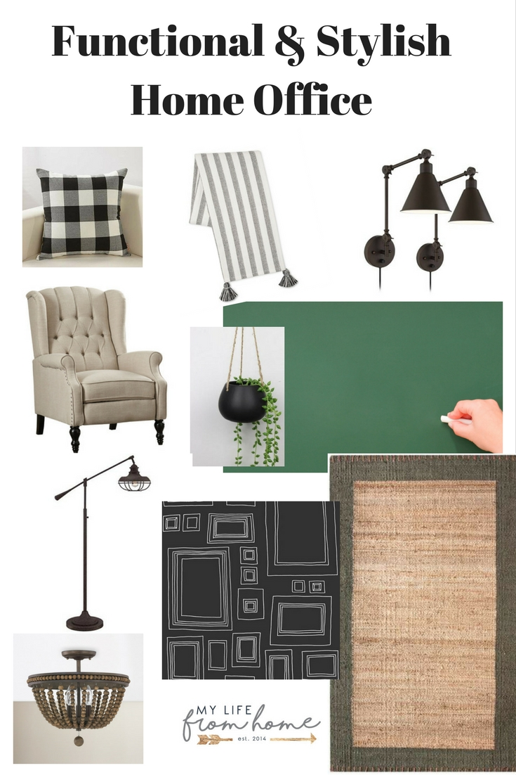Functional & Stylish Home Office- chalkboard wall- one room challenge- craft room- office- reading nook- inspiration board- home office- buffalo check- orc