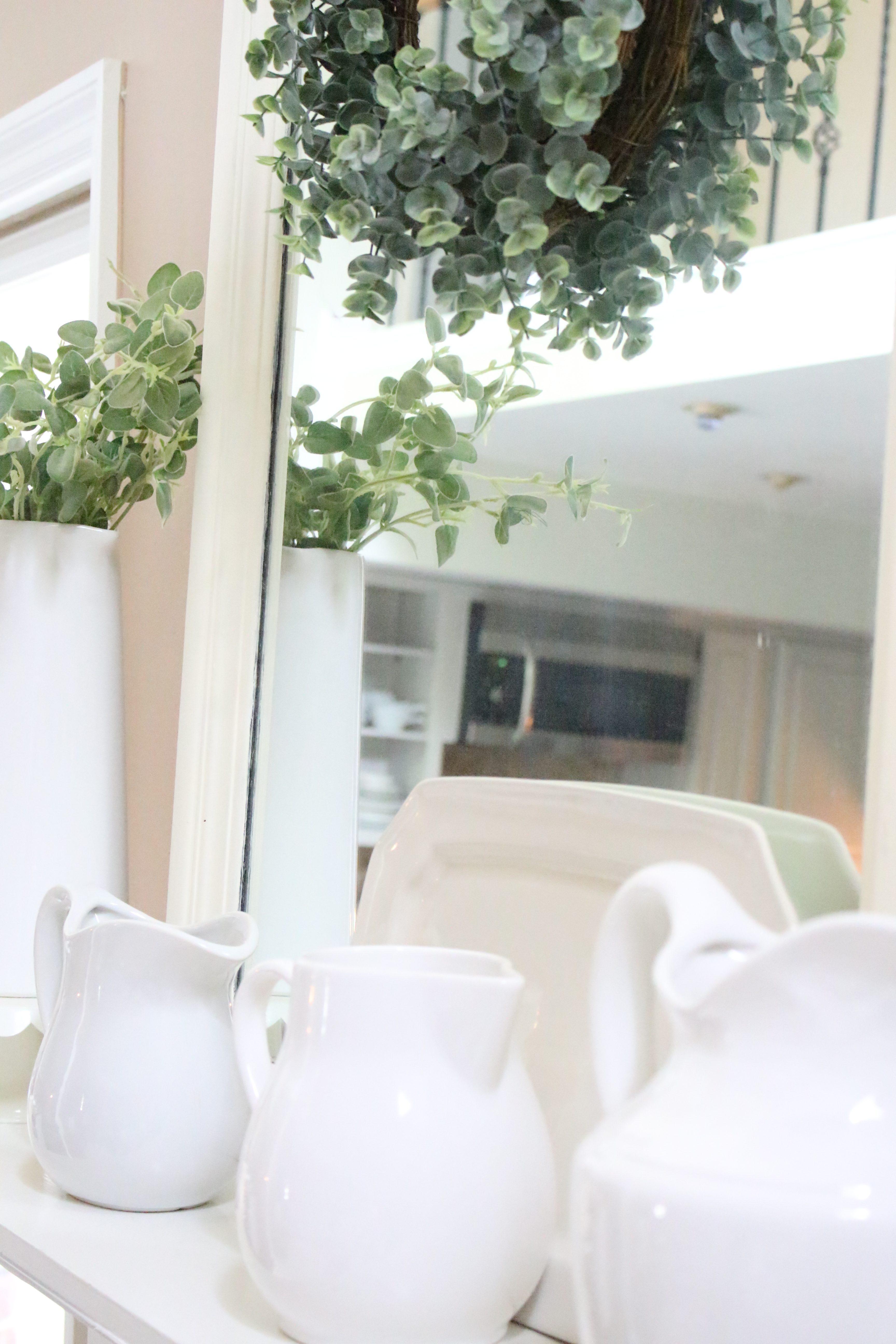 Summer Mantel- Mantle- summer decor- decorating your mantel for summer- fireplace decorating- summer ideas- summer decorating- farmhouse mantel- neutral decor- neutral mantel- chalkboard- white pitchers displayed- mantel displays