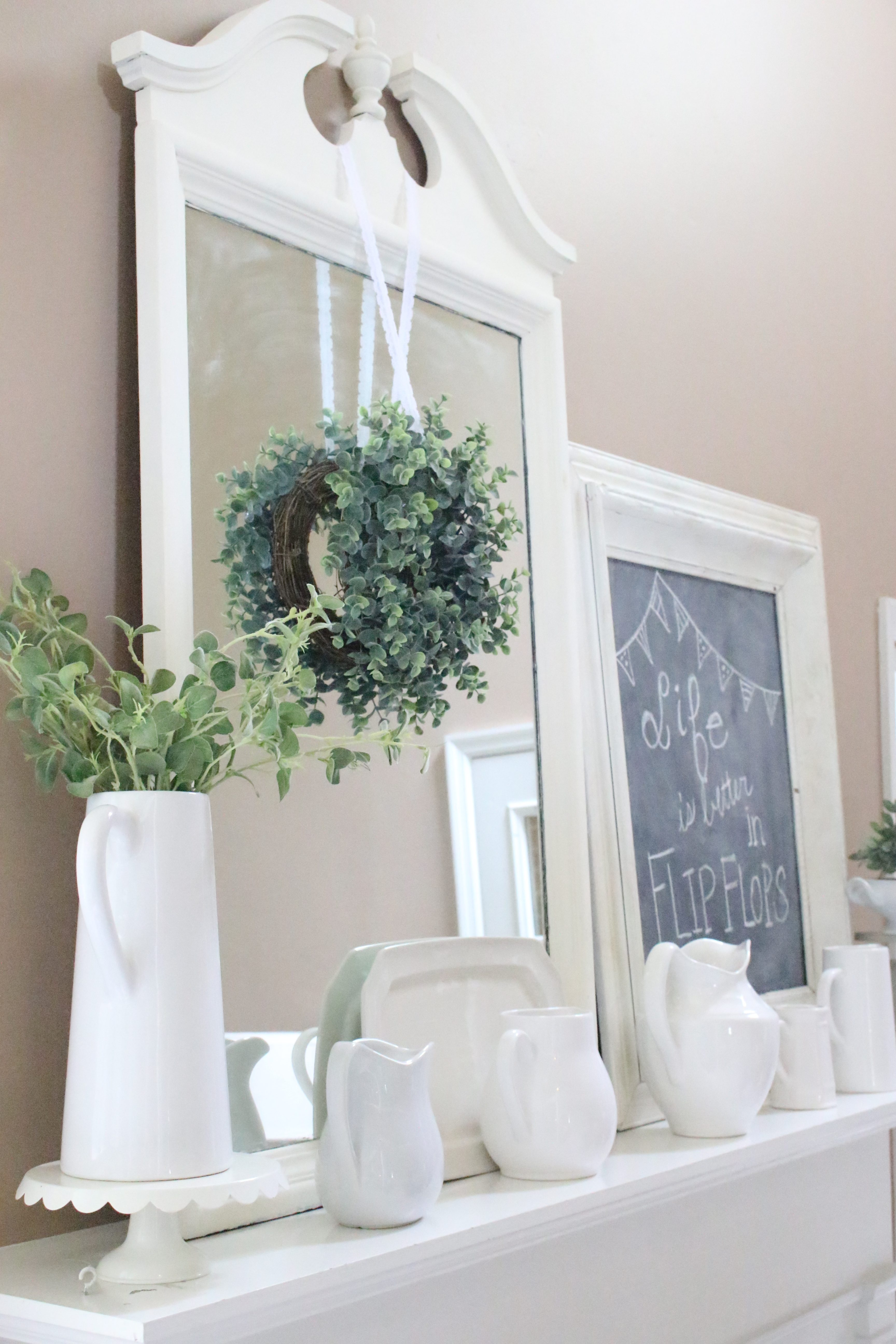 Summer Mantel- Mantle- summer decor- decorating your mantel for summer- fireplace decorating- summer ideas- summer decorating- farmhouse mantel- neutral decor- neutral mantel- chalkboard- white pitchers displayed- mantel displays