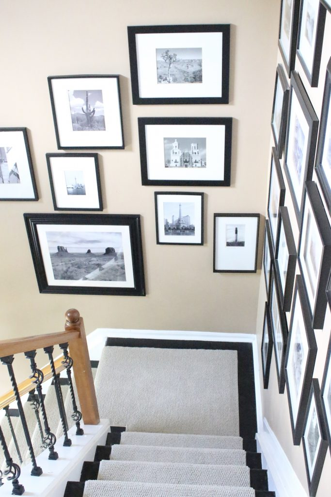 Entryway, picture, gallery, photographs, displaying photos, wall gallery, hallway, stairwell, entryway, decor, styling an entry, room design, wall decorating ideas, room decor ideas, rustic home decor, DIY, DIY projects, Do it Yourself, Home Decor