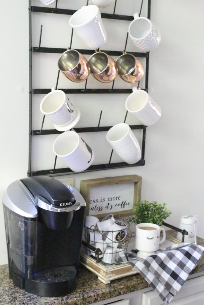 How to Set Up a Kitchen Coffee Station- kitchen- coffee- station- coffee bar- DIY- DIY projects- Do it Yourself- room design- Home Decor- Decoration Ideas- Room Decor Ideas- mug rack- rustic home decor- coffee sign- buffalo check- copper mugs