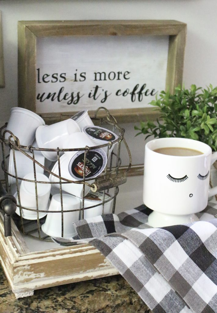 How to Set Up a Kitchen Coffee Station- kitchen- coffee- station- coffee bar- DIY- DIY projects- Do it Yourself- room design- Home Decor- Decoration Ideas- Room Decor Ideas- mug rack- rustic home decor- coffee sign- buffalo check- decor