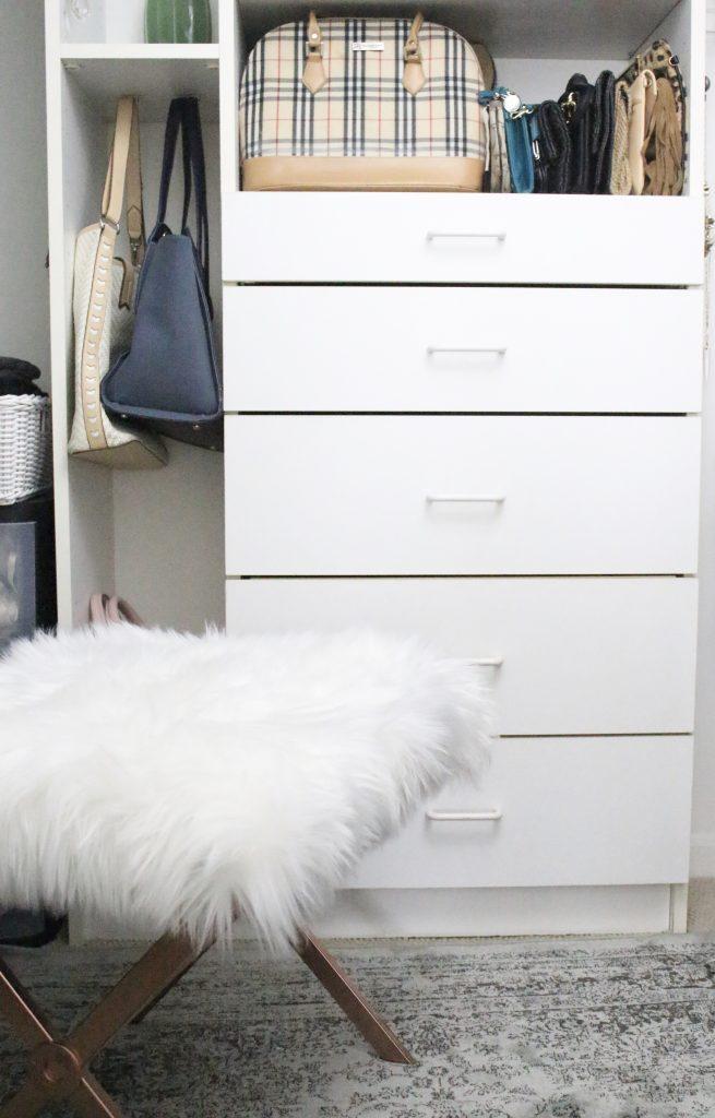 A full boutique closet reveal- master closet- closets- organizing closets- do it yourself- DIY- DIY projects- decoration ideas- room decor ideas- room design- home decor- closet decor- boutique- closet organization- shelf organization- walk in closet- fur stool