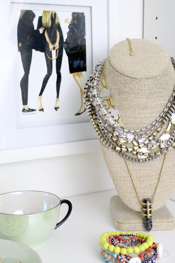 A full boutique closet reveal- master closet- closets- organizing closets- do it yourself- DIY- DIY projects- decoration ideas- room decor ideas- room design- home decor- closet decor- boutique- closet organization- shelf organization- walk in closet- jewelry storage- displaying jewelry in a closet- necklace display